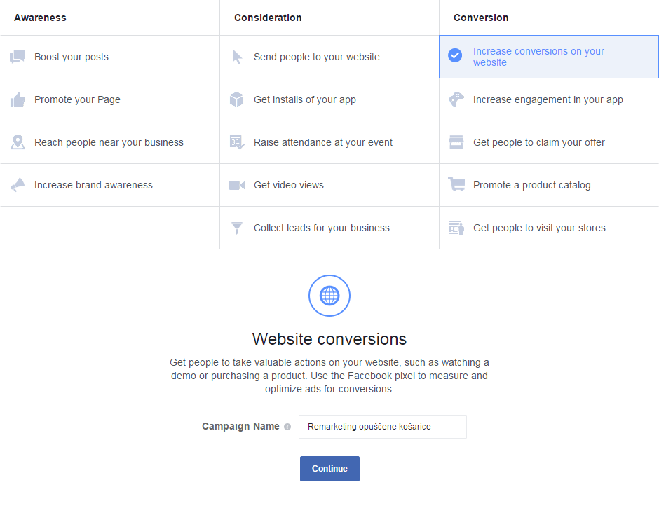 facebook remarketing - create campaign