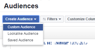 facebook remarketing - create custom audience