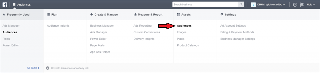facebook remarketing - facebook ad manager - audiences