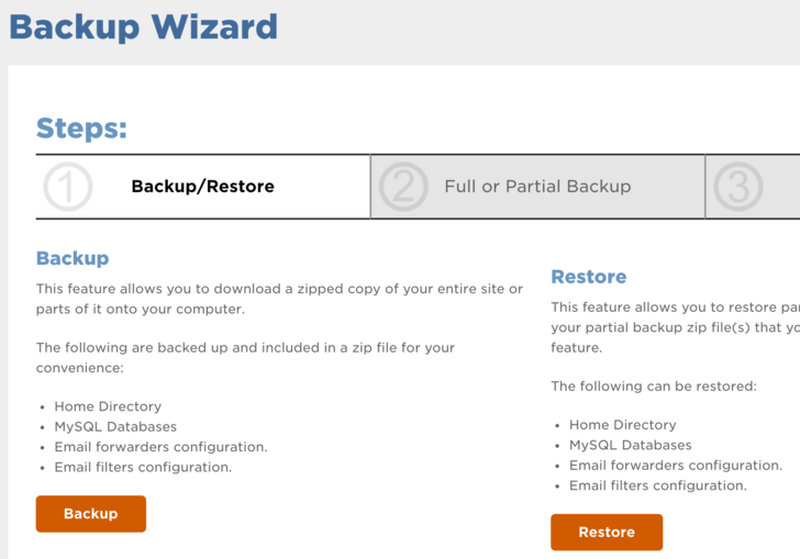 Kreiranje backupa v cPanelu